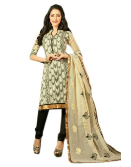 Office Wear Cream & Black Chanderi Salwar Suit  - 70986
