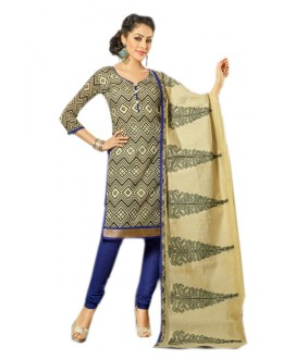 Office Wear Beige & Blue Chanderi Salwar Suit  - 70988
