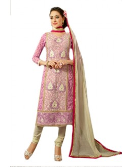 Office Wear Pink & Cream Chanderi Salwar Suit  - 70990