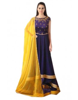 Festival Wear Blue & Yellow Banglori Silk Anarkali Suit  - 70991
