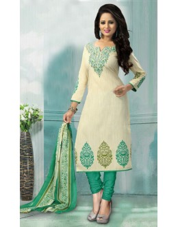 Festival Wear Off White American Crepe Salwar Suit  - 70757