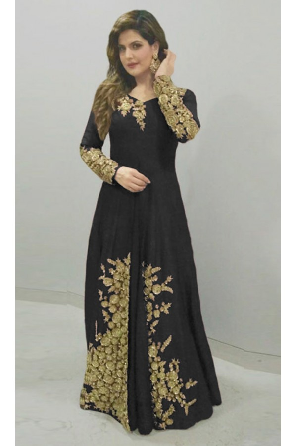 Bollywood Replica - Zareen Khan In Black Anarkali Suit - 70763C