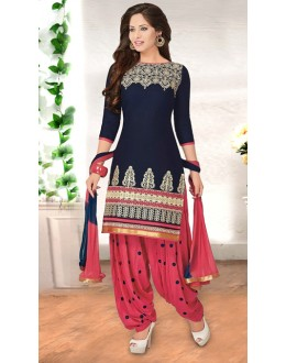 Festival Wear Blue American Crepe Patiyala Suit  - 70768