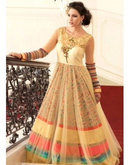 Party Wear Cream Bhagalpuri Gown - 70782