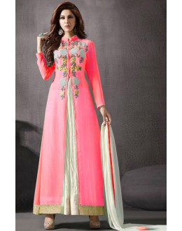 Ethnic Wear Pink Georgette Slit Anarkali Suit  - 70788