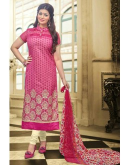 Ayesha Takia In Pink & White Chanderi Salwar Suit  - 70795
