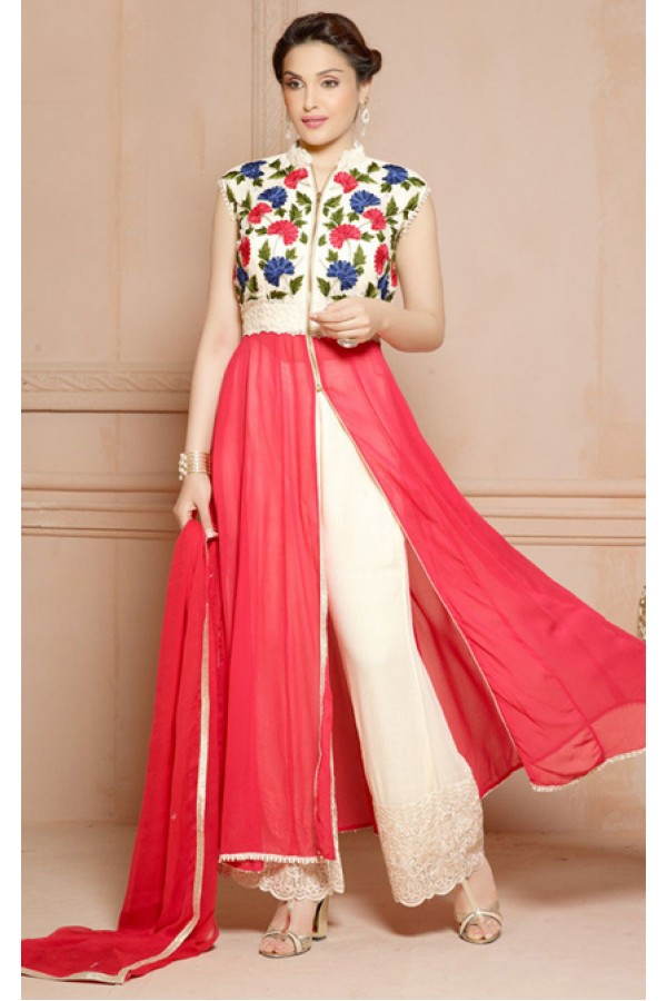 Ethnic Wear Pink & White Slit Palazzo Suit  - 70814