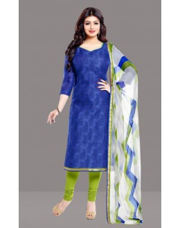 Office Wear Blue & Green Chanderi Churidar Suit  - 70819