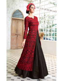 Party Wear Red & Black Net Lehenga Suit  - 70822