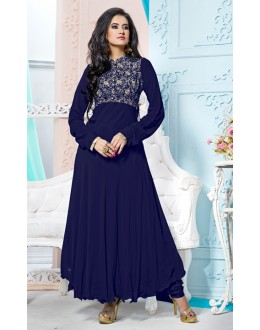 Party Wear Blue Georgette Anarkali Suit  - 70841