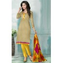 Casual Wear Beige & Yellow Chanderi Salwar Suit  - 70844