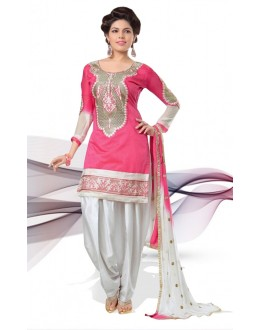 Festival Wear Pink & White Cotton Patiyala Suit  - 70846