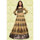 Festival Wear Beige & Grey Tapeta Silk Anarkali Suit  - 70856