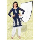 Ethnic Wear Blue & White Georgette Patiyala Suit  - 70858