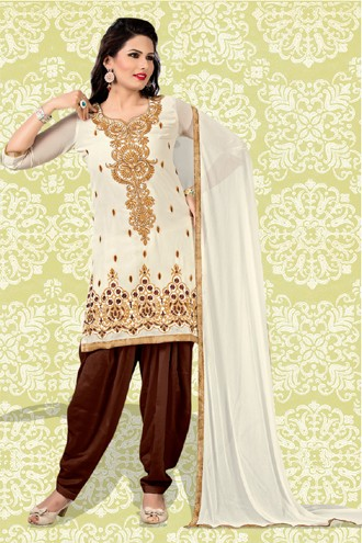 Festival Wear Cream & Brown Georgette Patiyala Suit  - 70859
