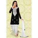 Designer Black & White Georgette Patiyala Suit  - 70860