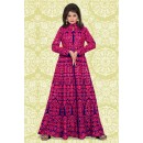 Festival Wear Pink & Blue Banglori Silk Anarkali Suit  - 70868A