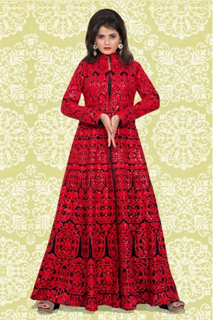 Bridal Wear Red & Black Banglori Silk Anarkali Suit  - 70868B