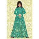 Designer Green & Cream Banglori Silk Anarkali Suit  - 70868C