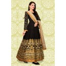 Festival Wear Black & Cream Banglori Silk Anarkali Suit  - 70869A