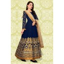 Designer Blue & Cream Banglori Silk Anarkali Suit  - 70869C