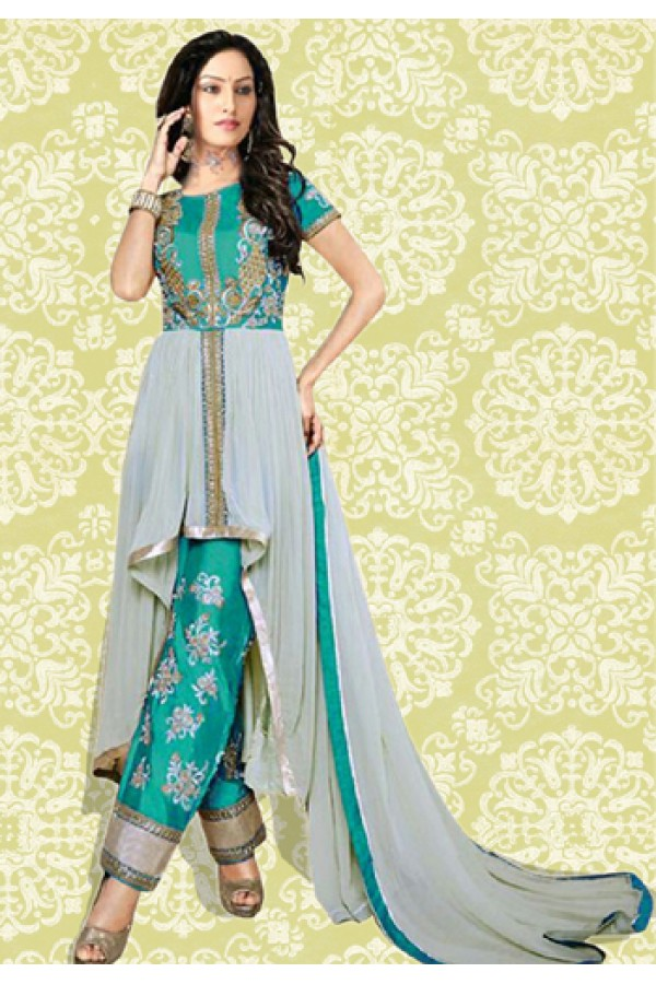 Party Wear Green & Grey 60 GM Salwar Suit  - 70890B