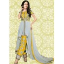 Ethnic Wear Yellow & Grey 60 GM Salwar Suit  - 70890C