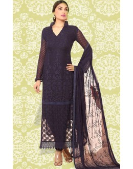 Festival Wear Navy Blue Chiffon Salwar Suit  - 70895