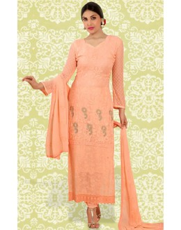 Ethnic Wear Peach Chiffon Salwar Suit  - 70896