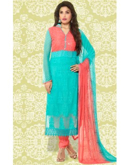 Casual Wear Aqua & Peach Chiffon Salwar Suit  - 70897