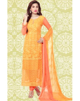 Ethnic Wear Orange Chiffon Salwar Suit  - 70898