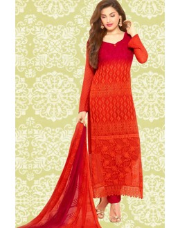 Ethnic Wear Red Chiffon Embroidered Salwar Suit  - 70901