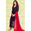 Party Wear Navy Blue & Pink Chiffon Salwar Suit  - 70903