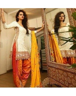 Bollywood Replica - Festival Wear White Cotton Patiyala Suit - 70922