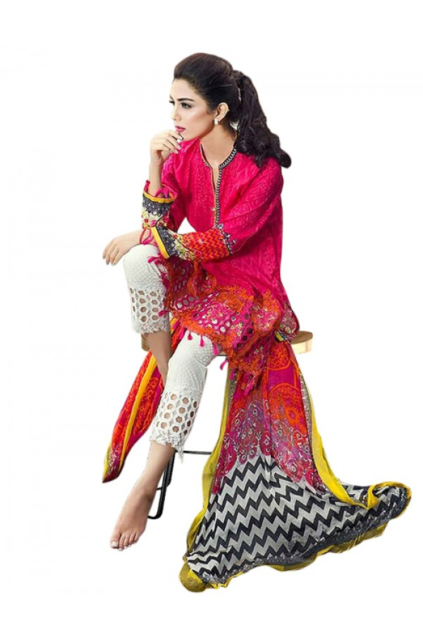 Party Wear Pink & White Cotton Salwar Suit  - 70924