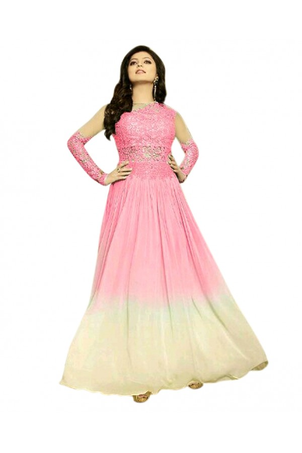 Party Wear Pink & Cream Georgette Anarkali Gown - 70925A