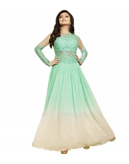 Party Wear Sea Green & Cream Georgette Anarkali Gown - 70925B