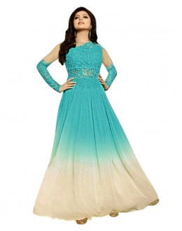 Festival Wear Sky Blue Georgette Anarkali Gown - 70925C