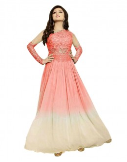 Designer Orange & Cream Georgette Anarkali Gown - 70925D