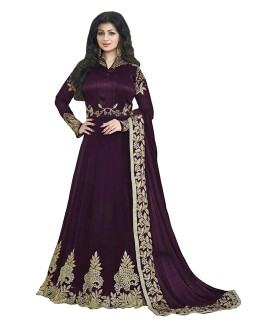 Ayesha Takia In Purple Banglori Silk Anarkali Gown - 70927C
