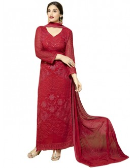 Festival Wear Red Chiffon Salwar Suit  - 70930