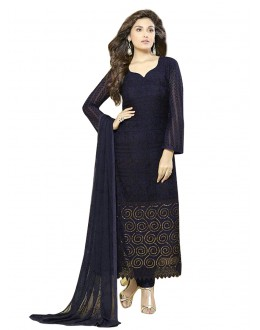 Party Wear Dark Blue Chiffon Salwar Suit  - 70933