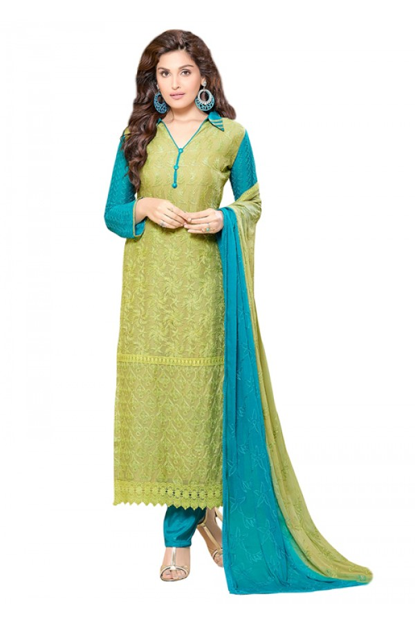 Ethnic Wear Green & Blue Chiffon Salwar Suit  - 70935