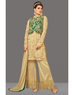 Party Wear Beige Georgette Palazzp Suit  - 70993