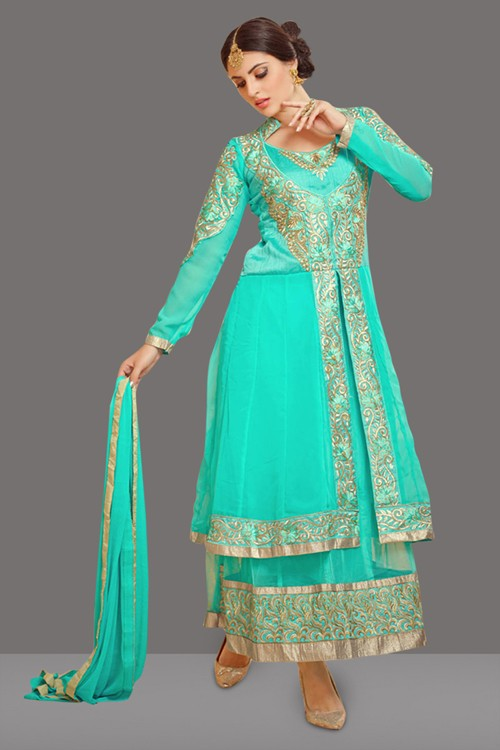 Party Wear Turquoise Georgette Anarkali Suit  - 70995