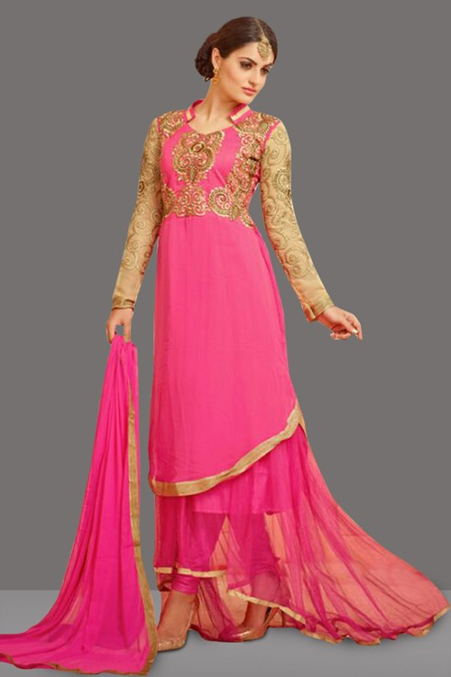 Fancy Pink Georgette Embroidery Anarkali Suit  - 70996