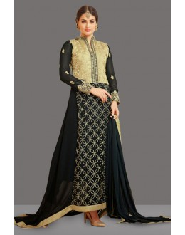 Party Wear Black Georgette Anarkali Suit  - 70997