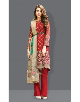 Ethnic Wear Red Georgette Salwar Suit  - 71002