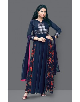 Festival Wear Blue Faux Georgette Anarkali Suit  - 71006