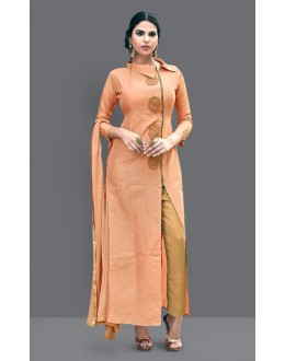 Ethnic Wear Orange & Beige Art Silk Slit Salwar Suit  - 71007